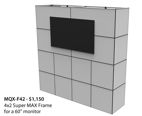 "MQX-F42 - framework holds a 60"" monitor in exhibit"